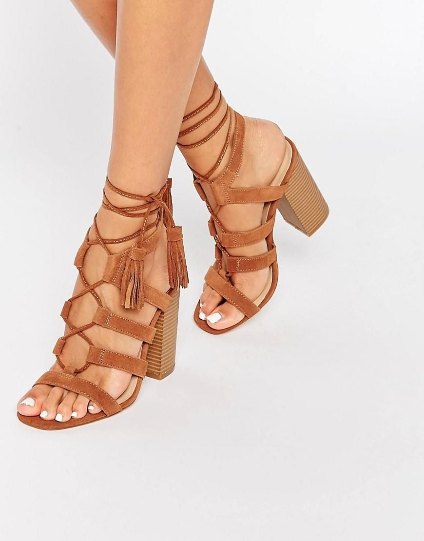 f41005b2a4fd9 New Look   New Look Real Suede Lace Up Heeled Sandal at ASOS   Shoe ...
