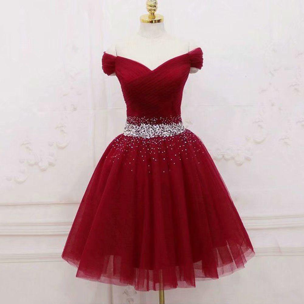 Cap Sleeve Burgundy Homecoming Dresses,Graduation