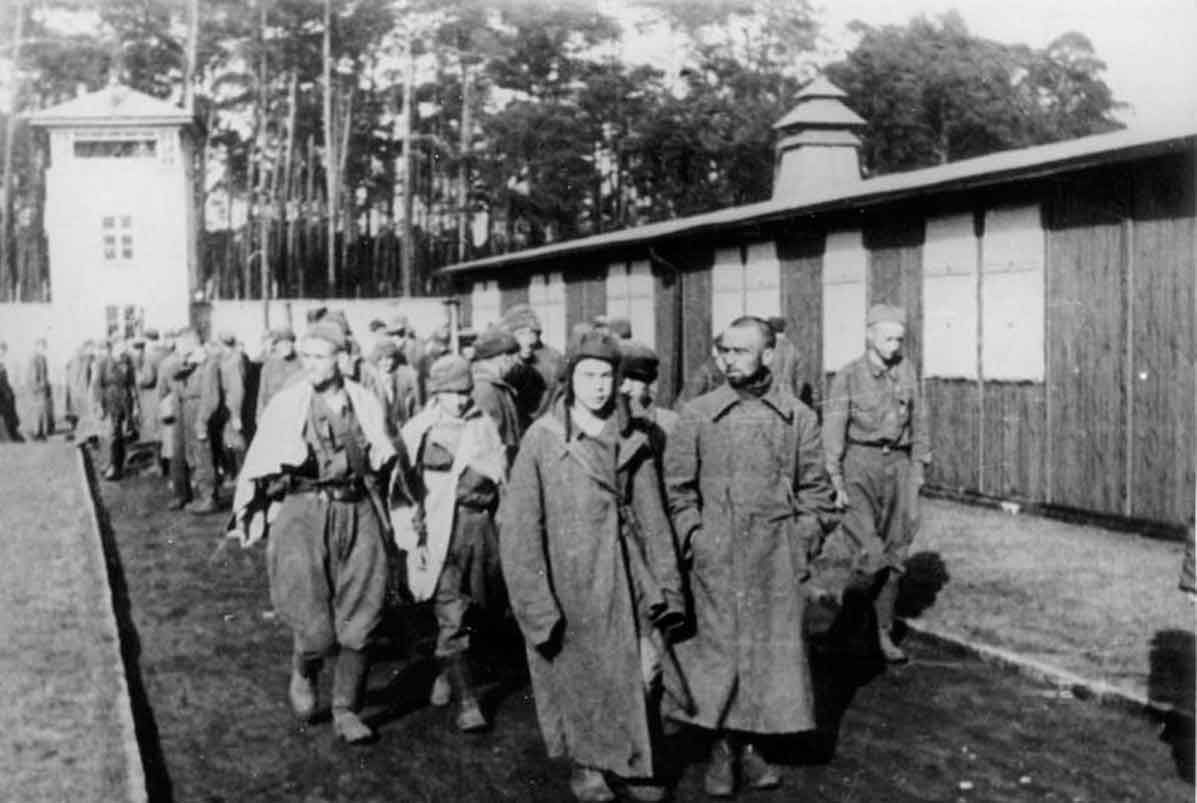 DEC 13 1944 Sachsenhausen concentration camp – new arrivals - See more at: http://ww2today.com/13-december-1944 18,000 Soviet prisoners of war were murdered in 1941 after a three-month march across Germany - Sachsenhausen was used as an experimental site for the gas chambers.