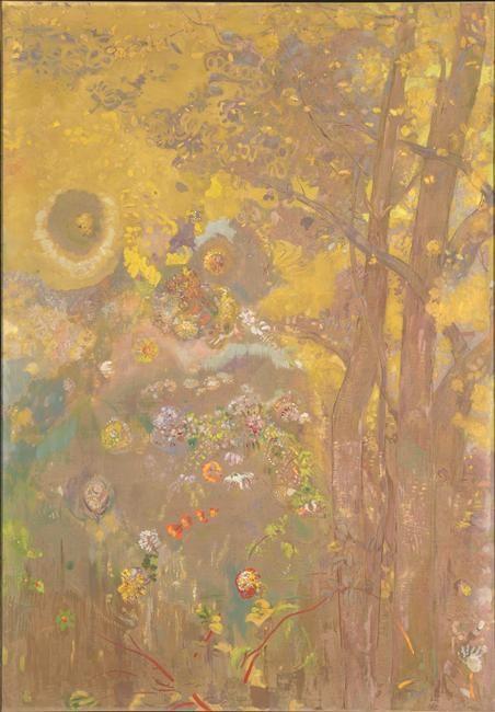 Odilon Redon Décoration Domecy : arbres sur fond jaune, 1901
