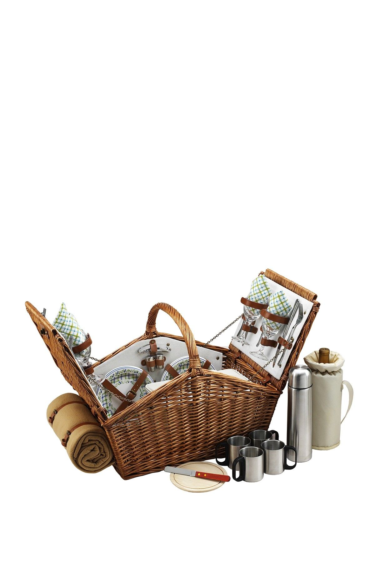 Huntsman Four Person Coffee Service Picnic Basket  Blanket – Awesome!!!