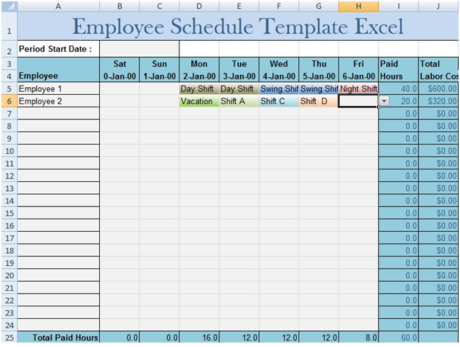 Download Employee Schedule Template Excel  Excel Project