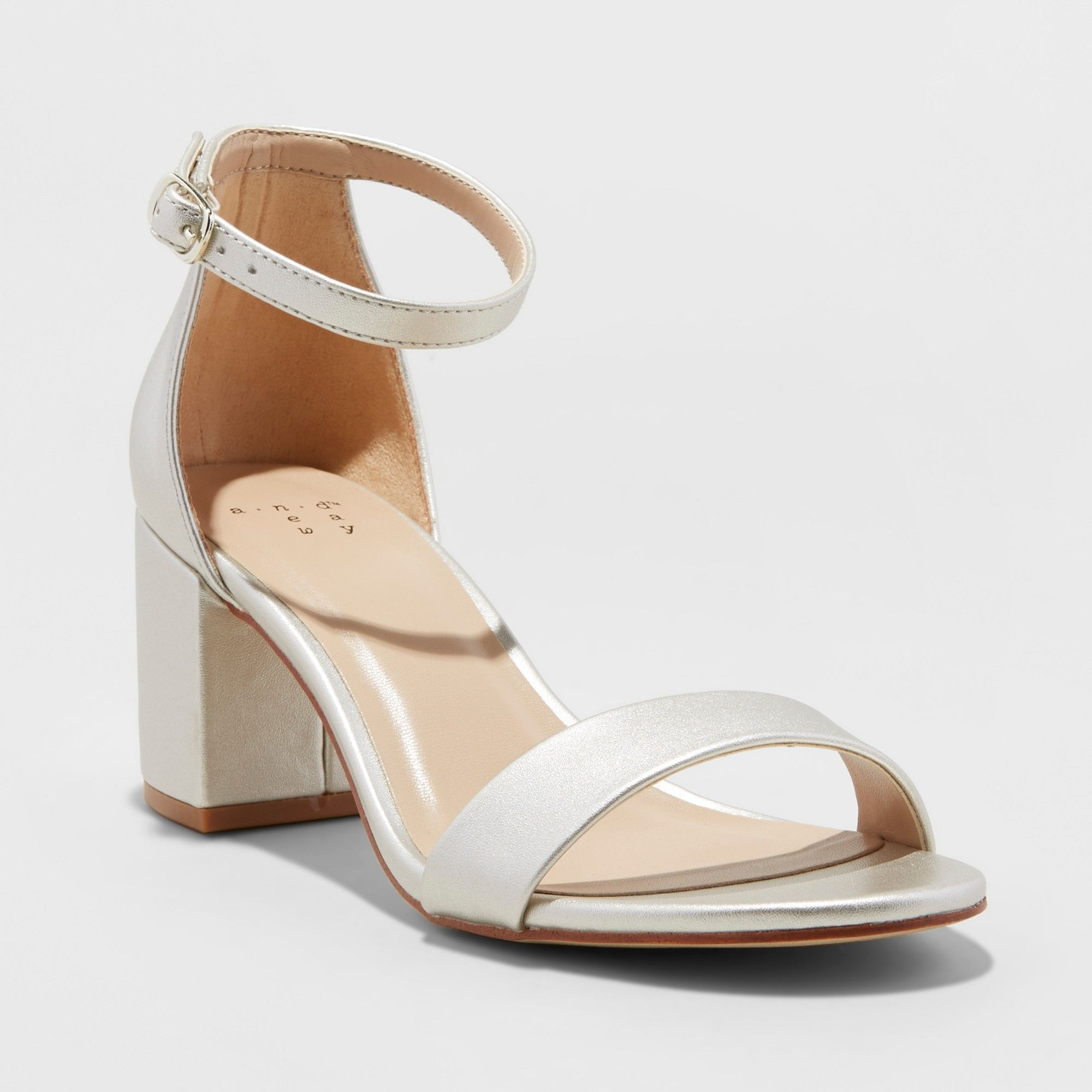 a7bab6cb657 Women s Micahela Satin Wide Width Mid Block Heel Pump Sandal - A New Day  Champagne (Beige) 10W