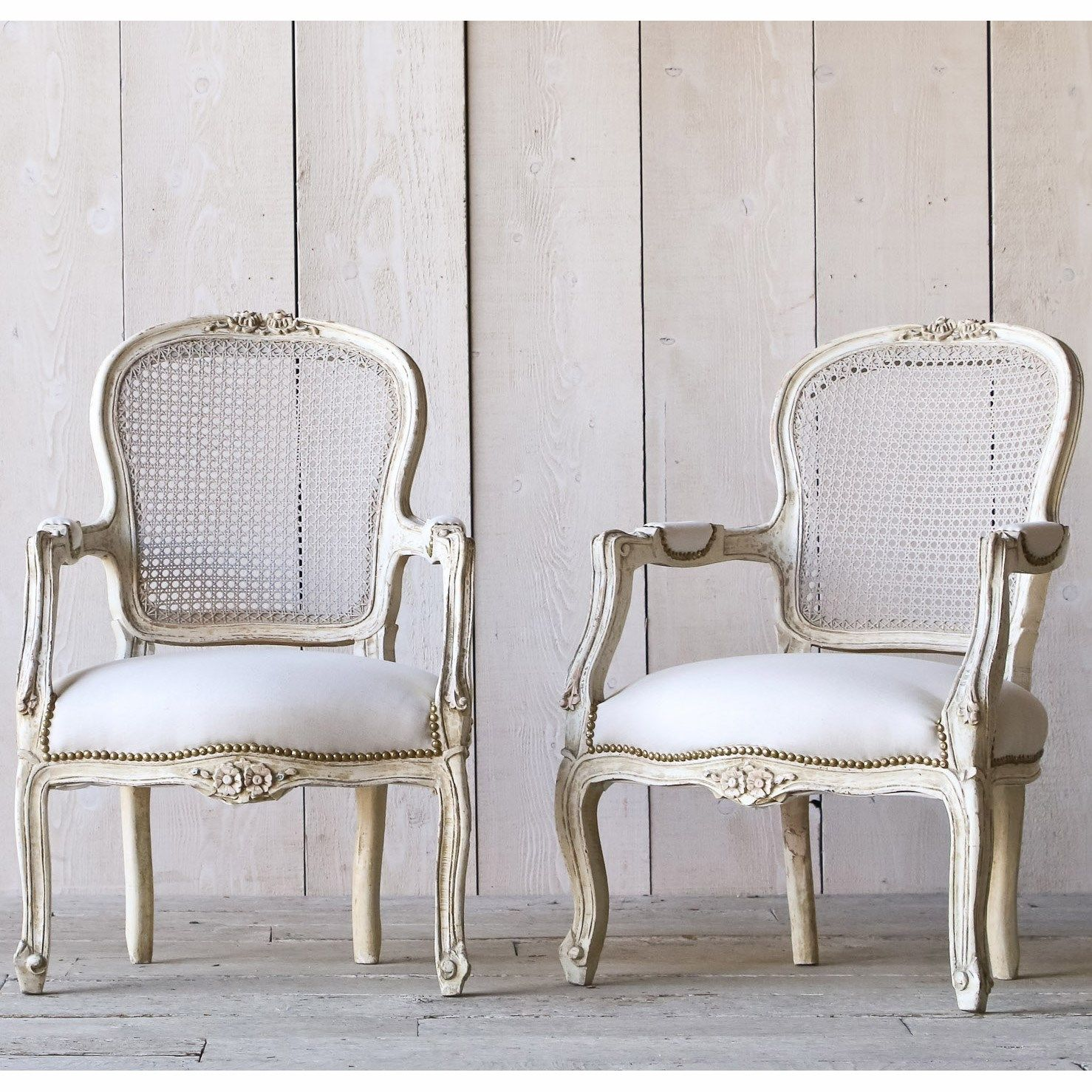 Eloquence One Of A Kind Vintage Armchairs Louis XV Old White Set Of 2. #