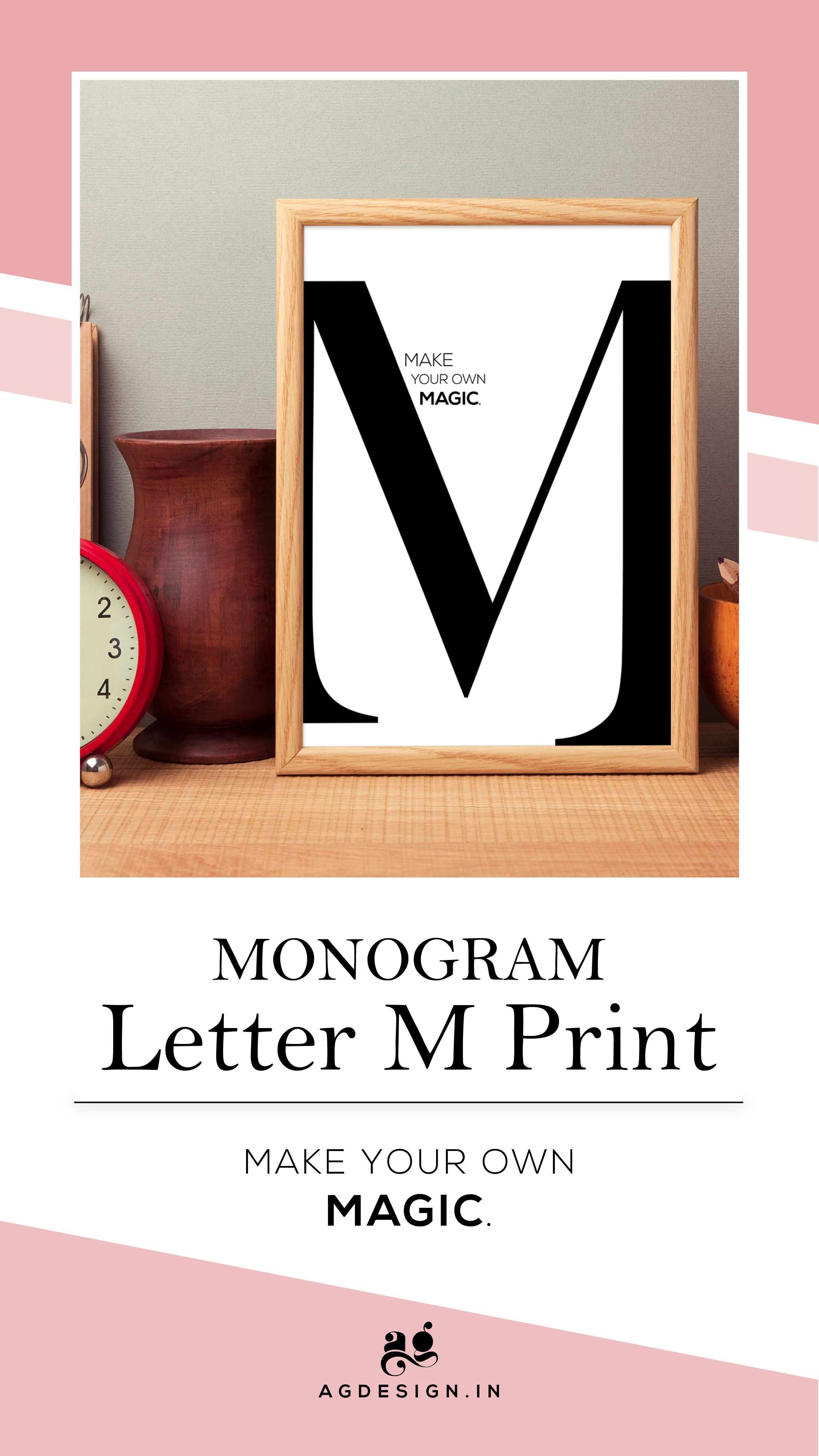 Monogram Letter M Poster Set Of 2 Make Your Own Magic Printable Quote First Name Initial Print Girl Room Wall Art Decor Gift For Him Her Lettering Monogram Letters Monogram Printable