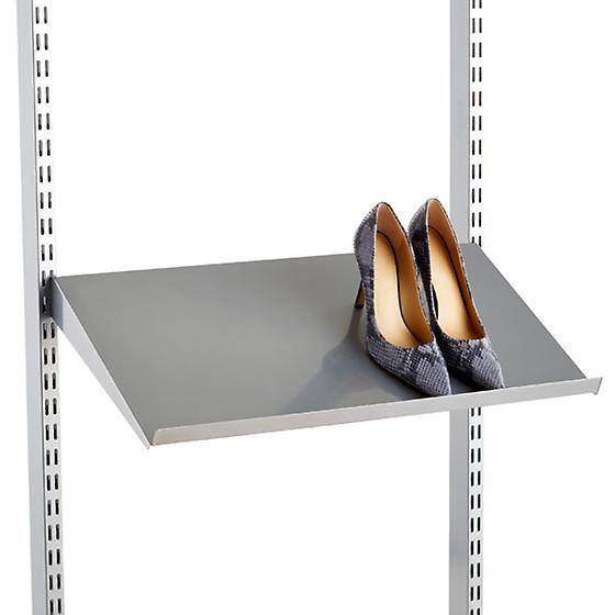 Platinum Elfa Angled Solid Metal Shelves With Images Metal Shelves Closet Storage Systems Shoe Shelf In Closet