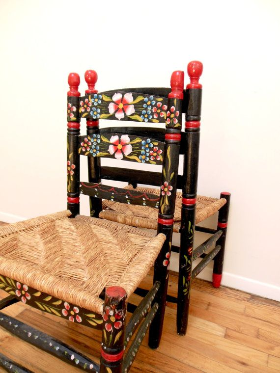 Mexican Folk Art Chairs Hand Painted Fl By Freewheelfinds