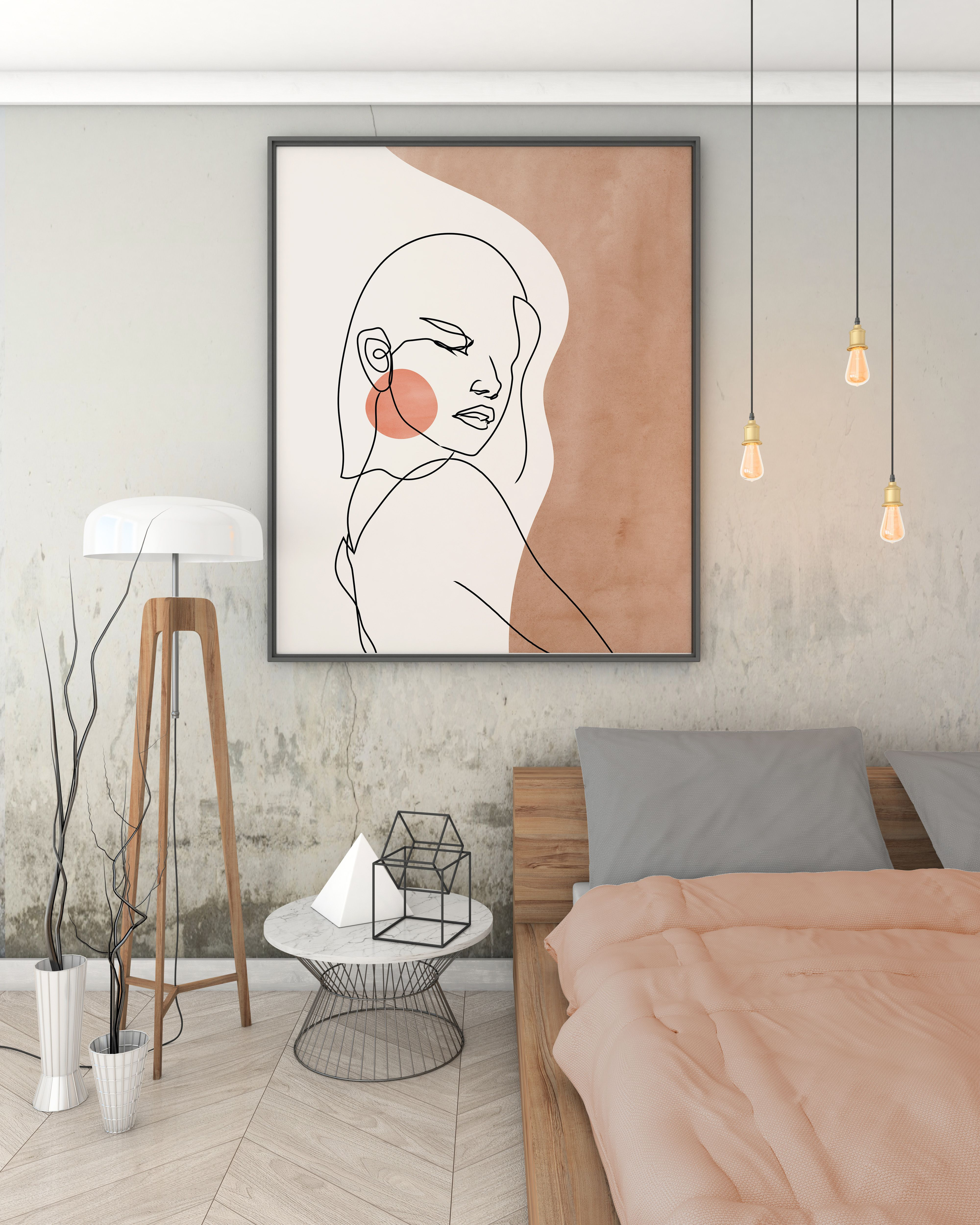 Abstract Face Line Art Print, Woman Face Single Line Drawing, Bohemian Neutral Colors Wall Art