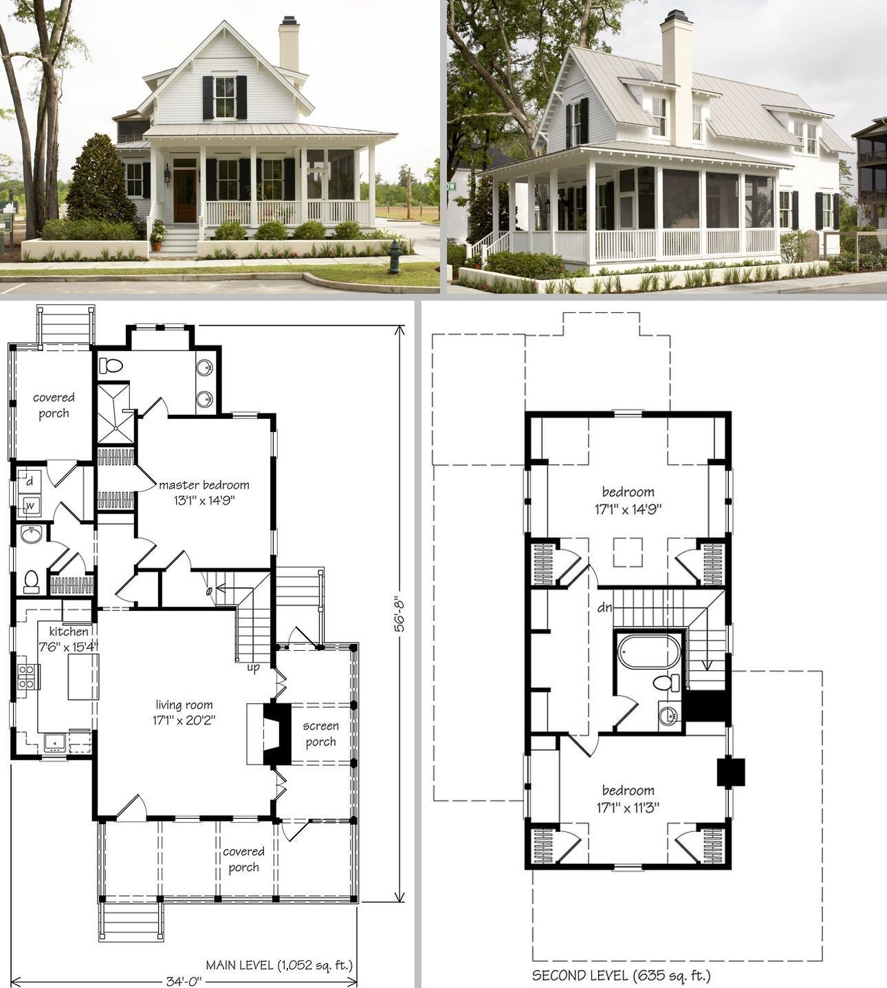 Sugarberry Cottage Southern Living House Plan 1648 Small 34 x