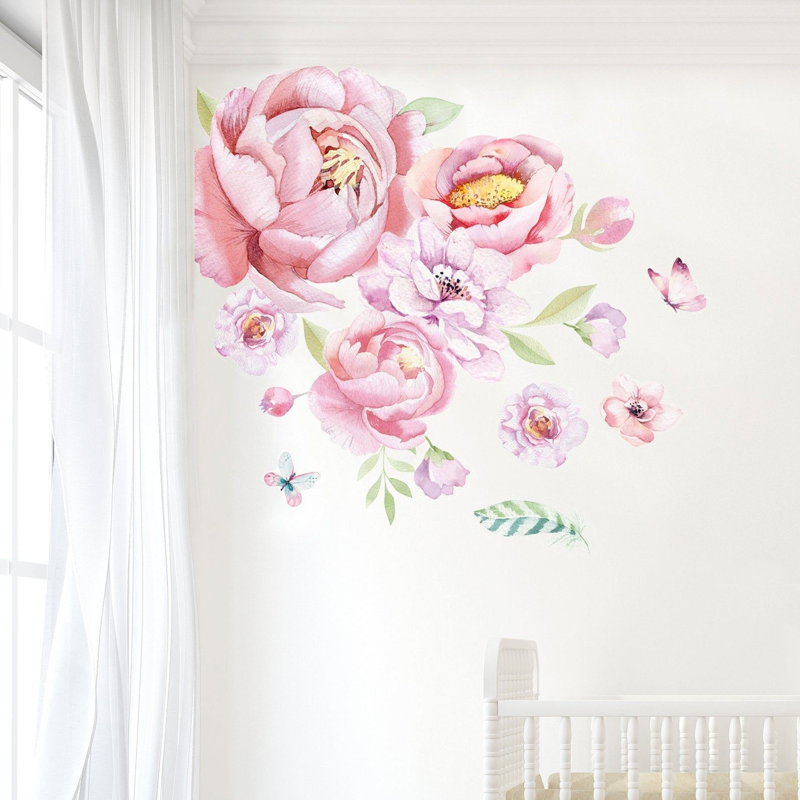 Peony Wall Decals Flowers Wall Decals Floral Wall Decals