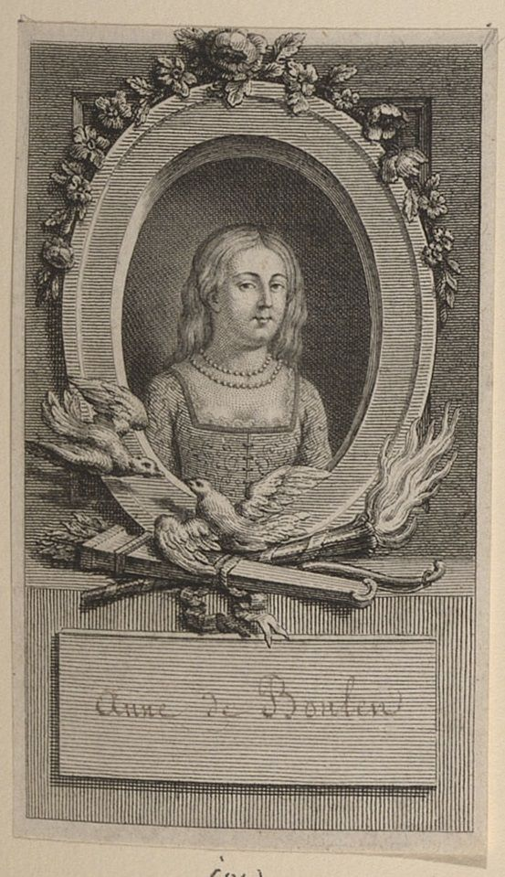 Stipple with etching of Anne Boleyn, Queen of England. Bust length figure of Anne Boleyn, Henry VIII's second wife, with long hair, pearl necklace, low gown, and embroidered bodice. Within an oval border surrounded by flowers, with blank entablature below with handwritten title in French.