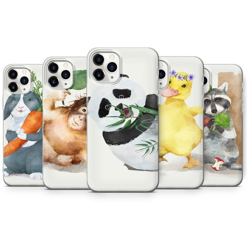 Watercolor Animals 2 Cute Phone Case Silicone Case Iphone Etsy In 2021 Cute Phone Cases Silicon Case Iphone Cases