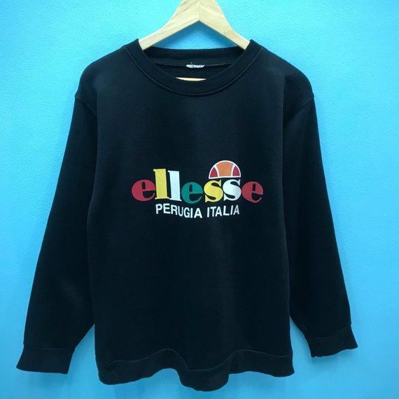 956ea61f4254 Vintage Ellesse Sweatshirt MultiColour Big Logo Spell Out Pullover Jumper  Sweater S Size