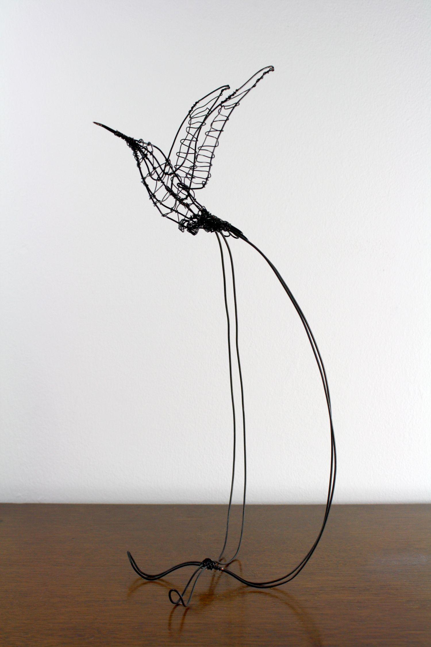 Handmade wire Hummingbird sculpture
