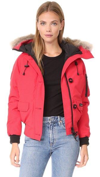 Canada Goose Chilliwack Bomber In Red Modesens Fashion Bomber Jacket Women Fur Hood Jacket