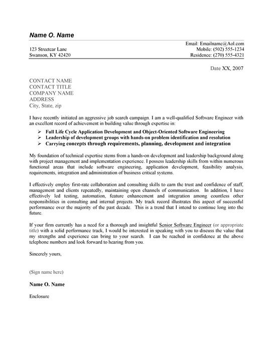 Whats Cover Letter A Good Cover Letter Template For Software Engineers To Use In A