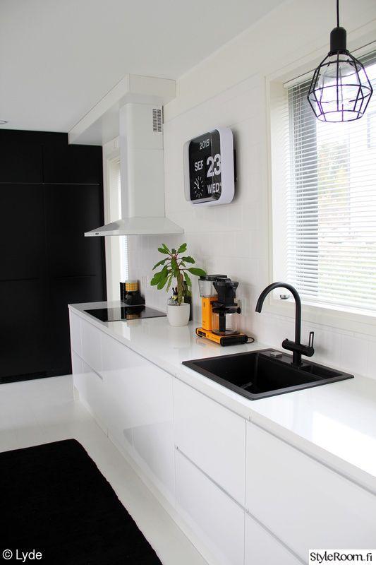 moderni,keittiö,musta,valkoinen,mustavalkoinen