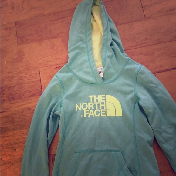 Soft hoodie jacket North Face mint yellow sz s Great pre owned condition no stains hole piling great women's hoodie bust app 35 North Face Tops Sweatshirts & Hoodies