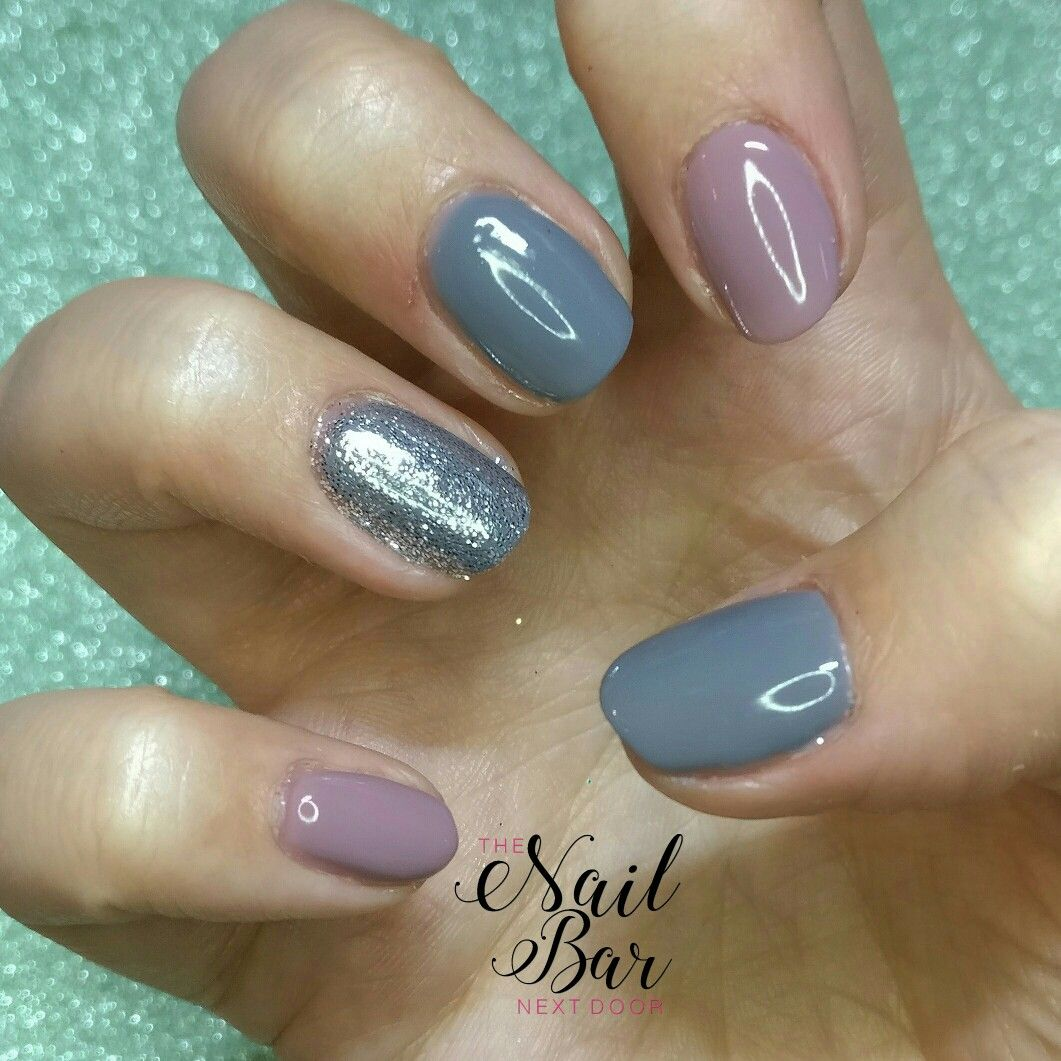 Impress press on manicure nails my style pinterest - Grey And Pink Gel Polish On Natural Nails With Silver Glitter