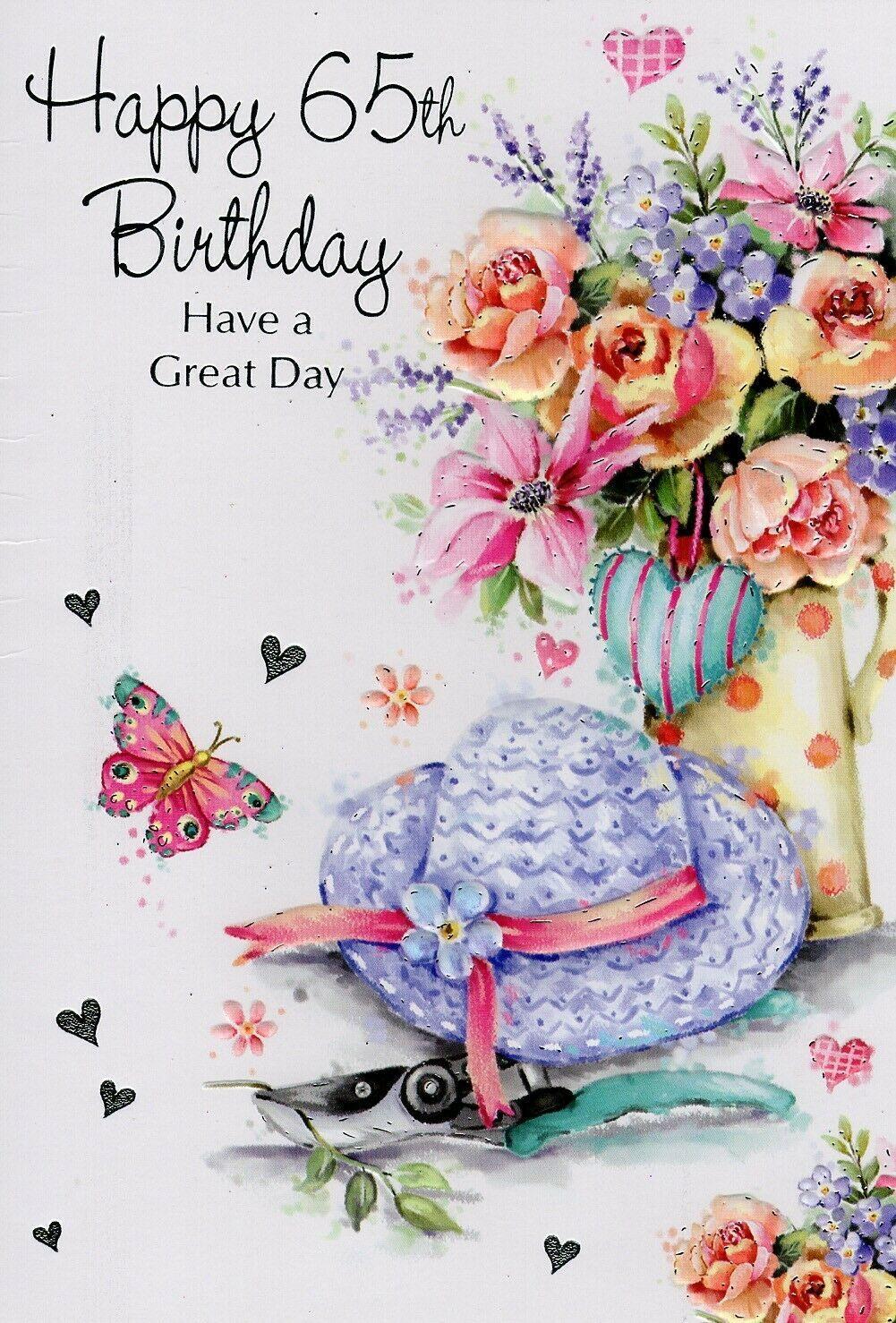 65th Female Birthday Greeting Card Multiple Designs Free P P Ebay Birthday Greeting Cards 65th Birthday Birthday Greetings