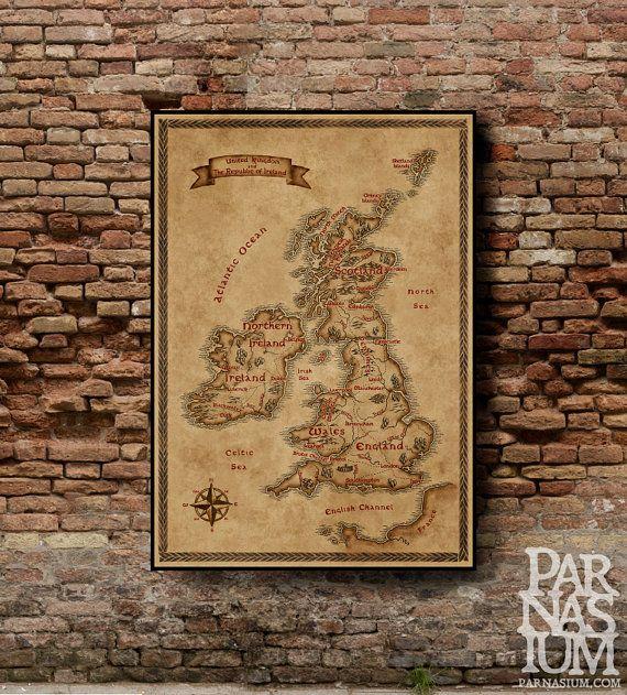 Britische Inseln Fantasy Karte Fantasy Design Uk Und Irland Karte