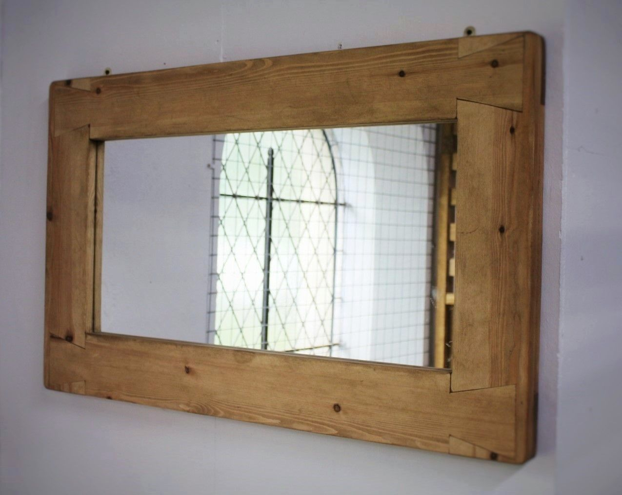 Handmade available from somerset uk rustic mirror with eco handmade large wood frame wall mirror in chunky light tone eco wood custom options available industrial rustic fusion from somerset uk amipublicfo Choice Image
