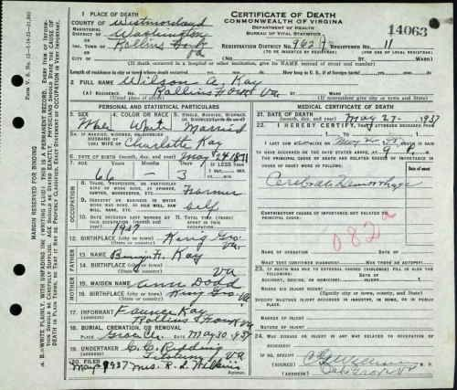 Wilson A Kay (1937) Commonwealth of Virginia Death Record ...