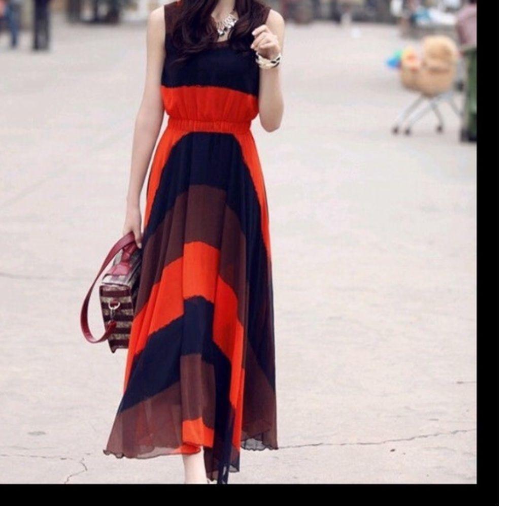 New long orange sleeveless dress products