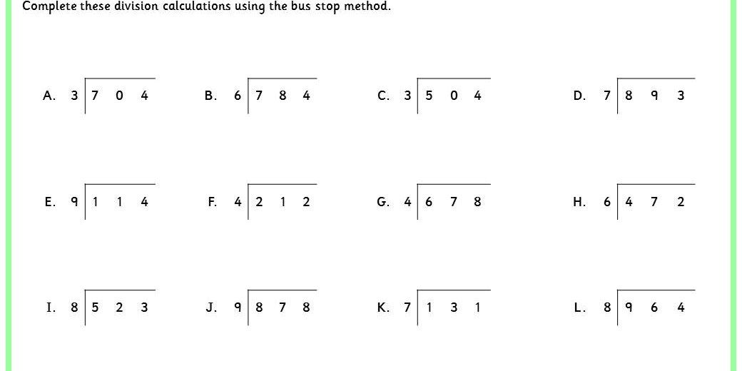 division bus stop method worksheets - Google Search | Bus ...