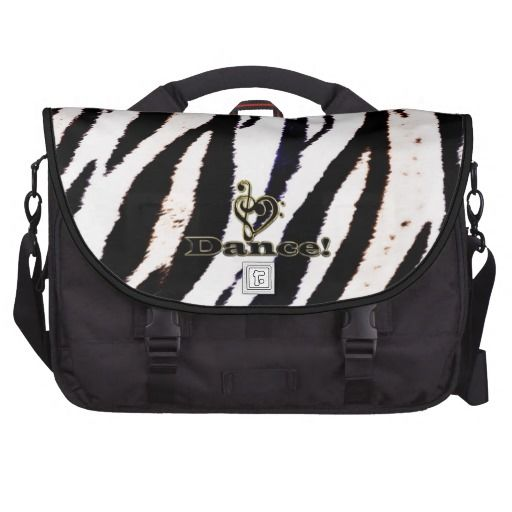 White Tiger Dancer's Music Clef Heart Laptop Bag  #animal #tiger #dance #dancer #music
