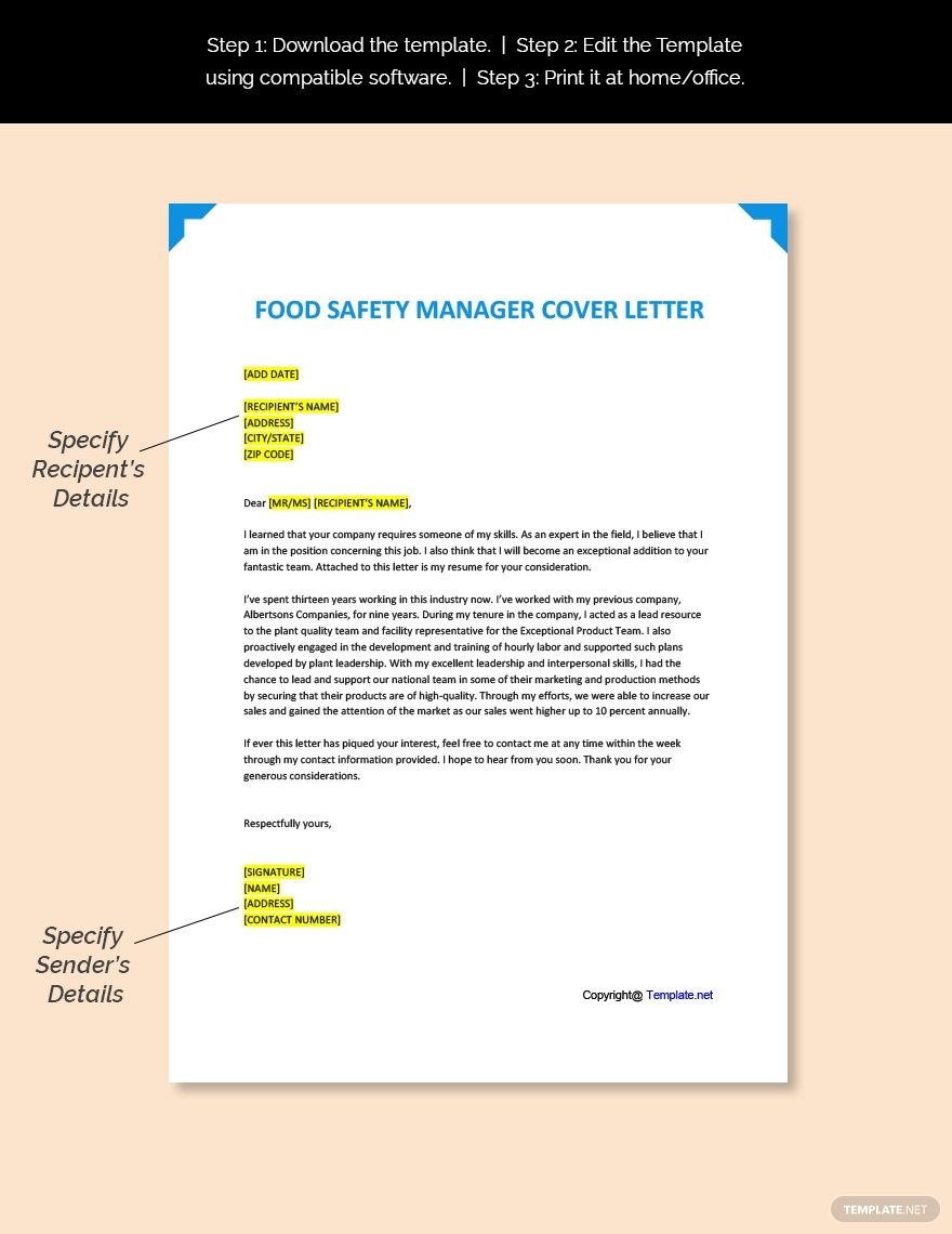 Free Food Safety Manager Cover Letter Template in 2020