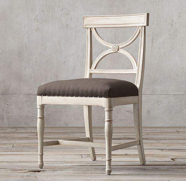 18th C. Gustavian X Back Fabric Side Chair