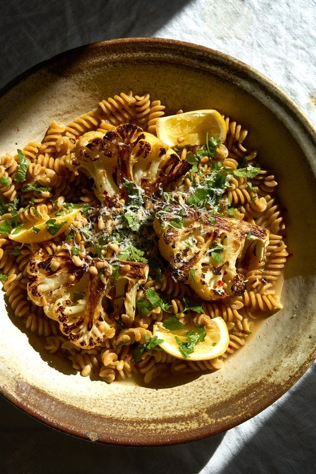 Beer Roasted Cauliflower With Pasta