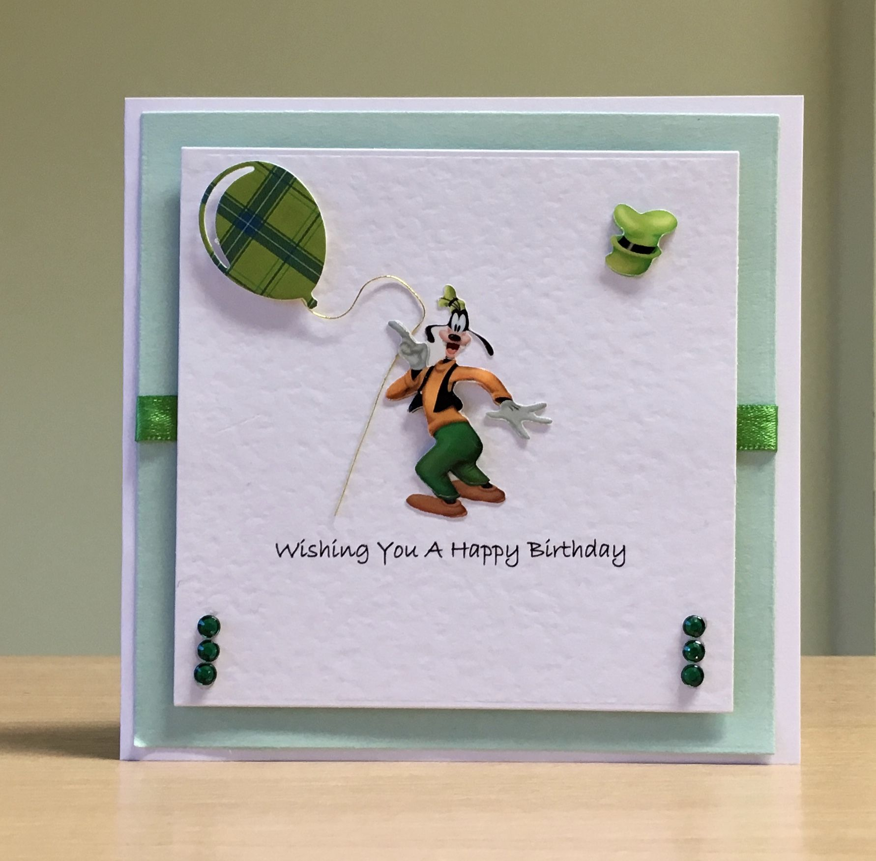 Birthday Card Handmade Disney Goofy Embellishment For More Of My Cards Please Visit Craftycardstudio On Ets Handmade Craft Cards Cards Handmade Cute Cards