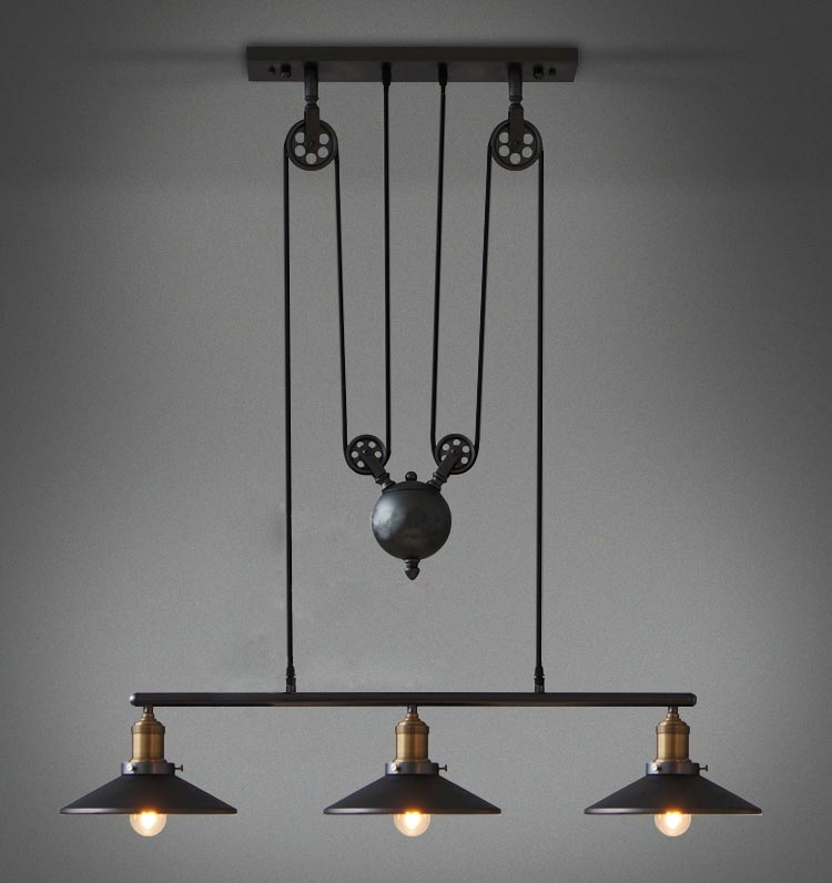235.20$  Buy now - http://alilmk.worldwells.pw/go.php?t=32712618527 - Restoring Ancient Ways Industrial Style American Country vintage pulley pendant lights line adjustable pendant lamps for home