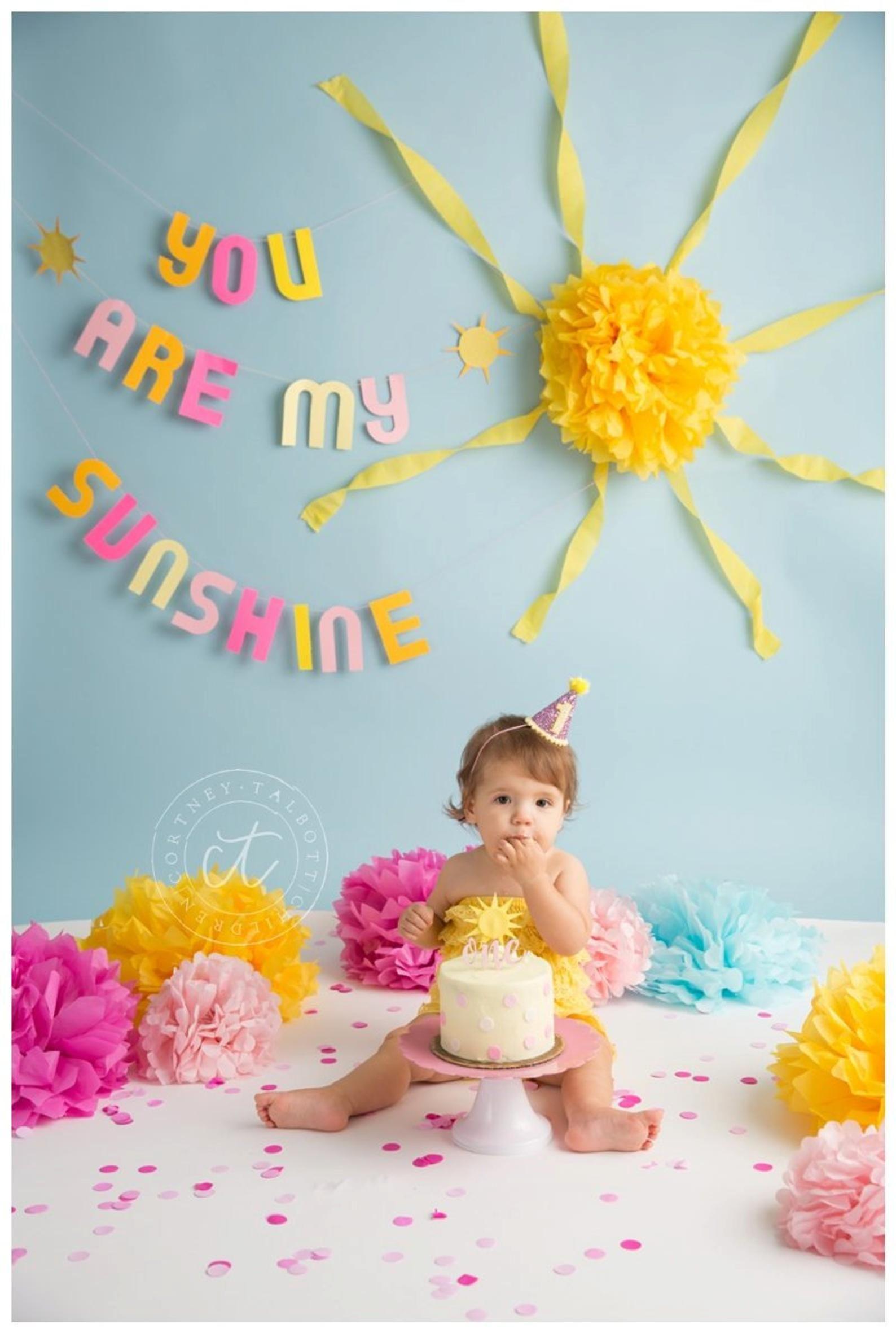 Glitter Birthday Headband You Are My Sunshine Lemonade Party Birthday Hat Photo Prop Cone Hat 1st Birthday
