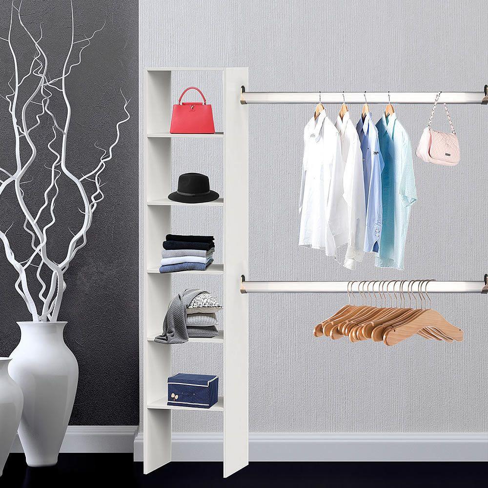 Kleiderschrank Weiß Kleiderständer begehbar Regal Garderobenschrank ...