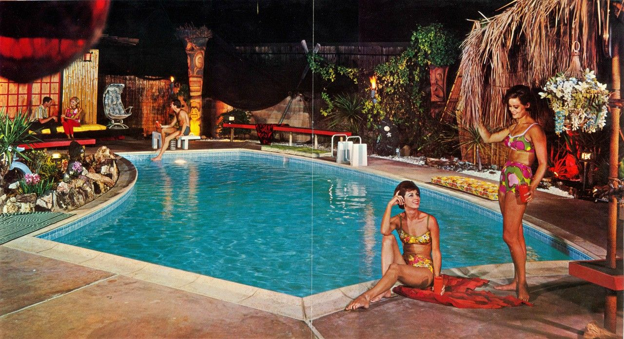 Pics of mid century modern tiki backyards pools patios for Garden pool party