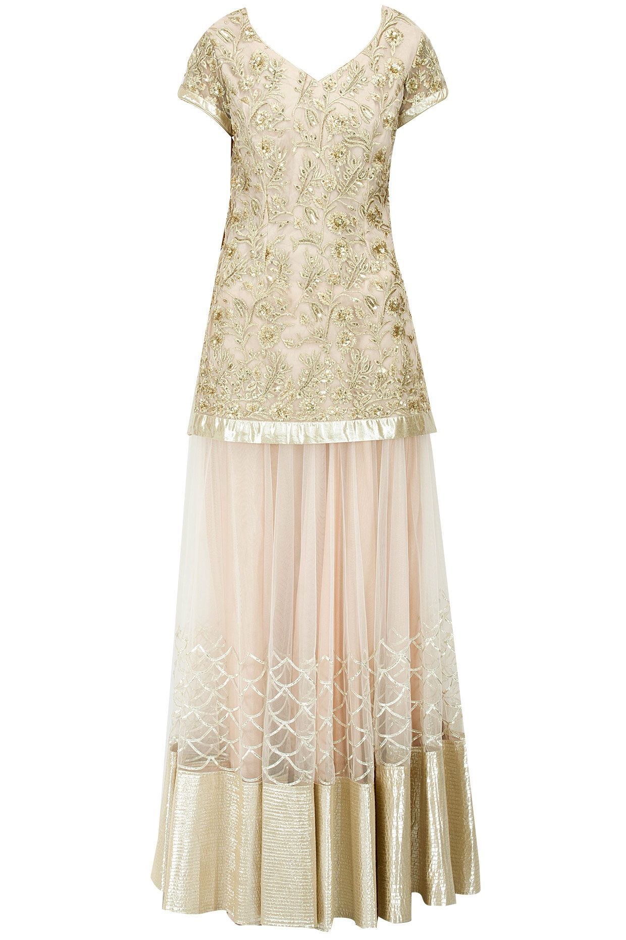 Raw silk wedding dress  Beige sequins applique detail lehenga set available only at Perniaus
