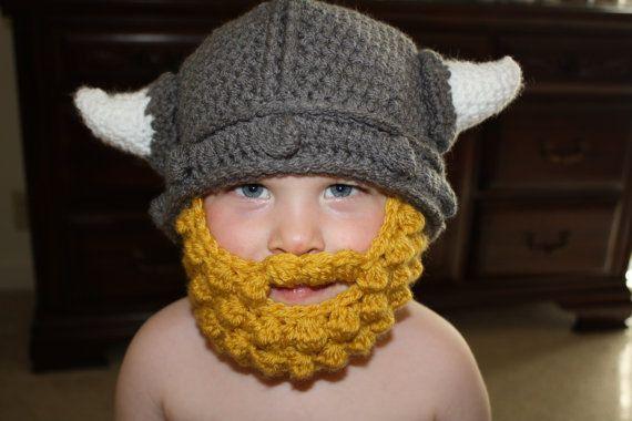 Crochet Viking Hat with Horns for boy or girl Handmade on Etsy ...