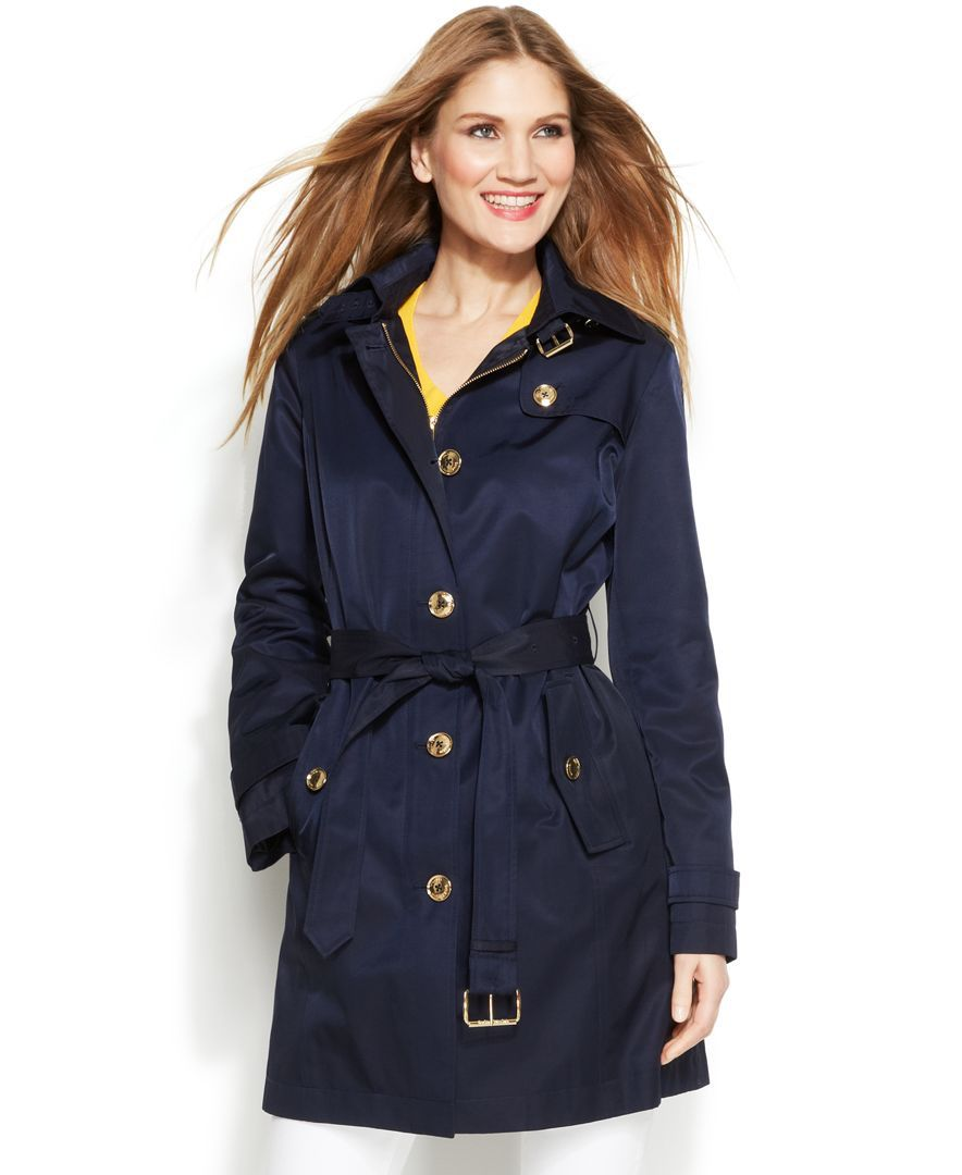 c22a51860 Michael Michael Kors Hooded Belted Trench Coat