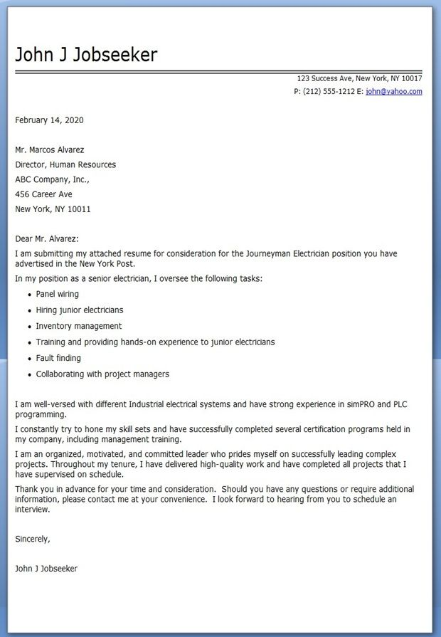 Journeyman Electrician Cover Letter Examples | Creative Resume