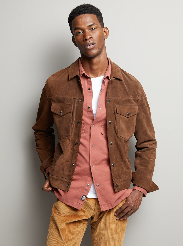 Italian Suede Snap Dylan Jacket In Dark Brown Jean Jacket Outfits Men Red Shirt Men Jackets [ 1338 x 1000 Pixel ]