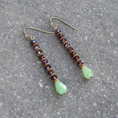 Boho, Indian Jewelry Inspired Dark Amethyst and Jade Crystal Earrings is part of Lovepray jewelry, Trade bead earrings, Handmade jewelry, Beaded earrings, Beaded jewelry, Diy jewelry - Slender and lean, boho chic crystal and African trade bead earrings  with hypoallergenic stainless steel ear hooks (antique brass colored) for easy and comfortable everyday wear   They will make your outfit look cool!  measurements dangle part is 1 5 inch long without counting the hook