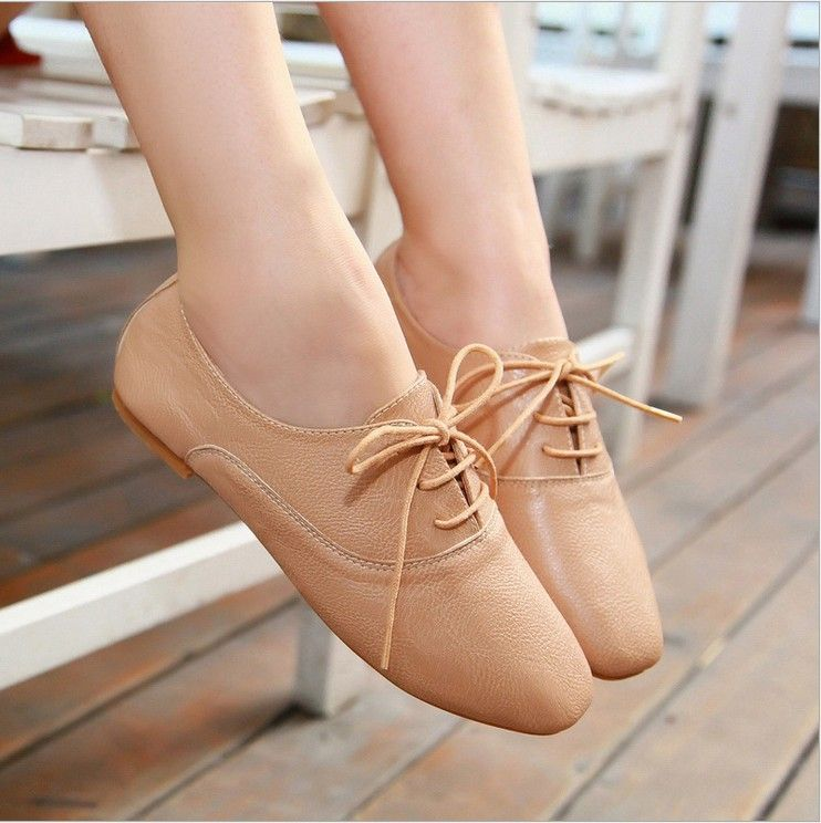 Oxford shoes Lace up Wholesale Beauty Women shoes for Lady fashion flat  shoes & Brown Beige from mobile site on Aliexpress Now!