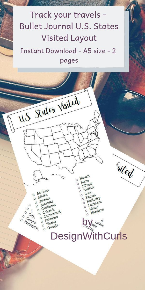 #fitness goals bullet journal layout Bullet Journal Goal Tracker - U.S. States Map Template - Bullet...