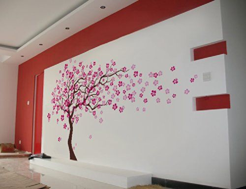 Popdecors Cherry Blossom Tree Inch H Beautiful Tree Wall - Wall stickers for girlspink cherry blossom tree with birds wall stickers girls bedroom