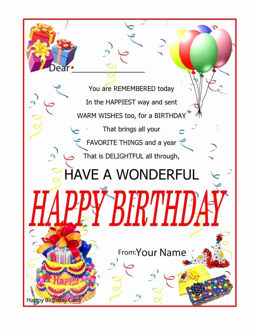 Ms Word Birthday Card Template Luxury 41 Free Birthday Card Templates In Word Excel Pdf Free Birthday Card Birthday Wishes With Name Birthday Cards