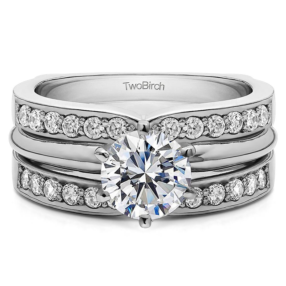 CZ and Sterling Silver Channel Set Wedding Ring Guard for