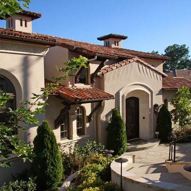 Mediterranean home mansard roof design pictures remodel for Tuscan roof design